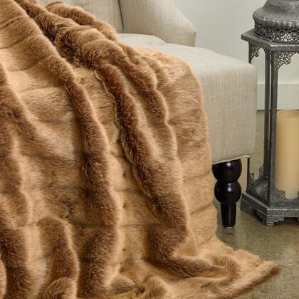 Mink Collection PBEZ1781-96x110T 96L x 110W Queen Frost Light Brown Faux Fur Luxury
