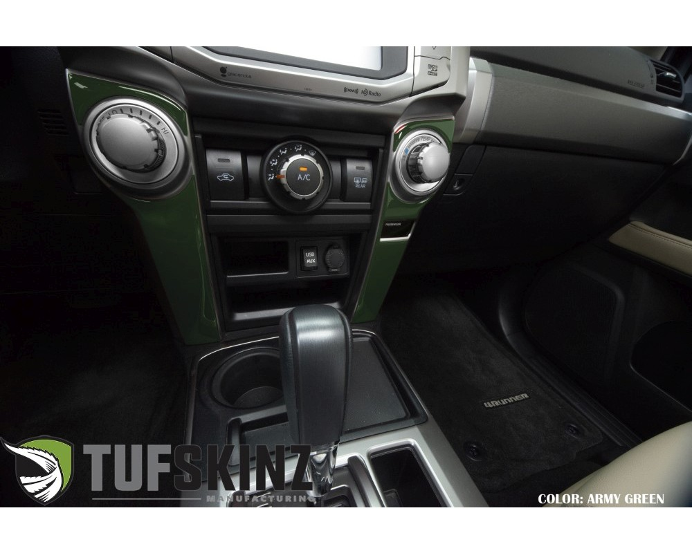 Tufskinz RUN017-TAG-G Side Of Climate Control Accent Trim Fits 2014-2020 Toyota 4Runner 4 Piece Kit In Army Green