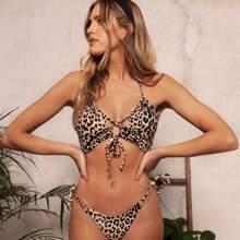 Leopard Halter Top With Tie Side Bikini Set