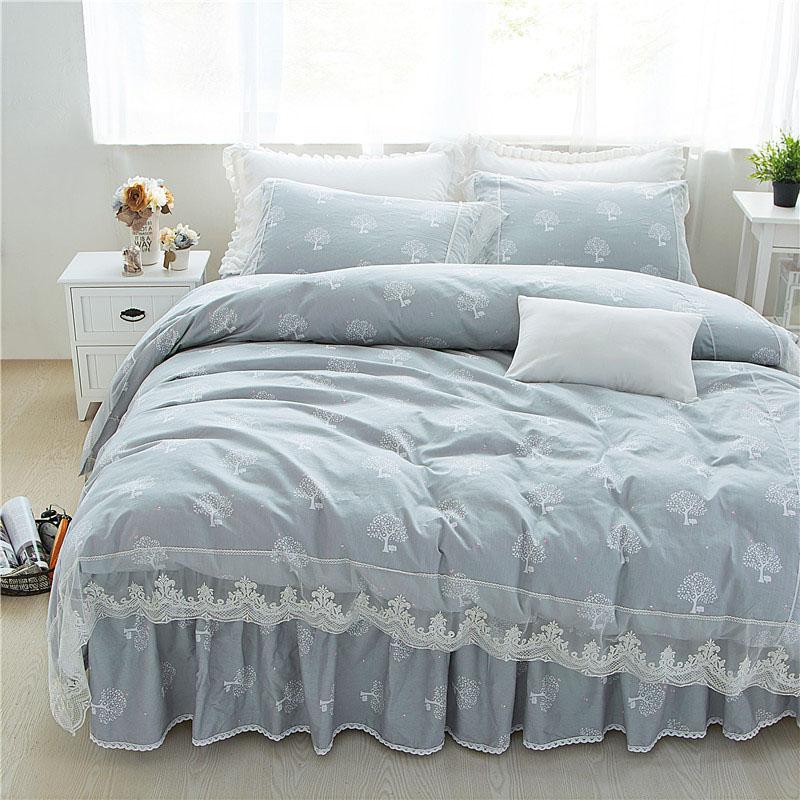 4 Pieces Lace Bedding Sets Soft Cozy Cotton Bed Skirt Set of 2 Colors