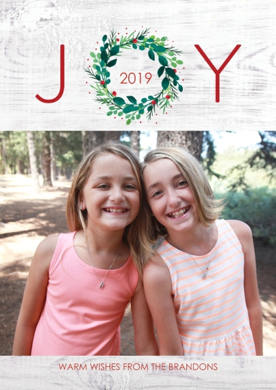 Christmas Photo Cards Flat Matte Photo Paper Cards with Envelopes, 5x7, Card & Stationery -Joy Wreath