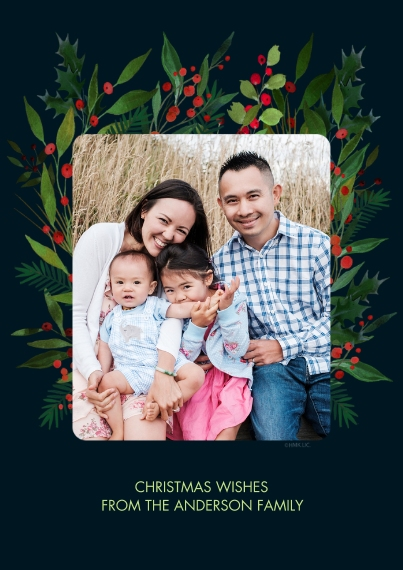 Christmas Photo Cards 5x7 Cards, Premium Cardstock 120lb with Elegant Corners, Card & Stationery -Mistletoe & Holly-Framed Christmas Photo Card by Hal