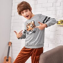 Boys Striped Sleeve Sequin Tiger Patched Pullover