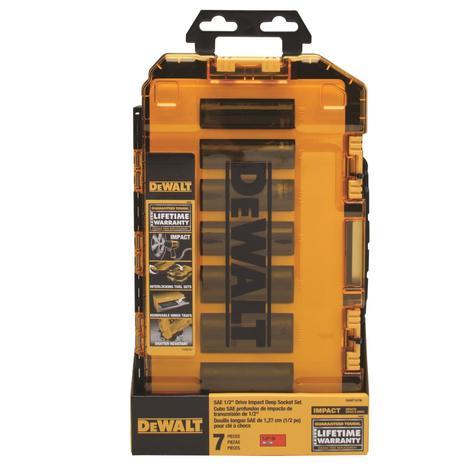 DeWalt Tough Box 7 pc. SAE 1/2 Drive Deep Impact Socket Set