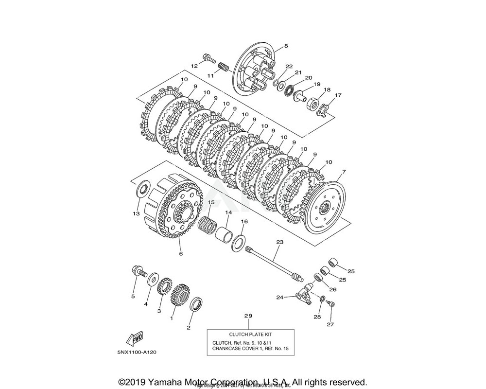 Yamaha OEM 1P8-W001G-00-00 CLUTCH PLATE KIT