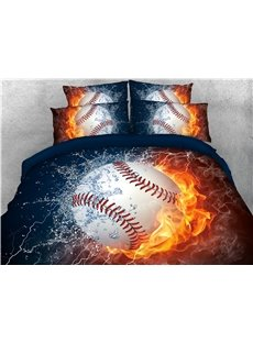 Baseball with Fire and Water Printed 4-Piece 3D Bedding Sets/Duvet Covers