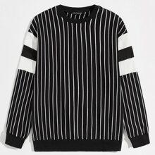 Men Drop Shoulder Striped Pullover