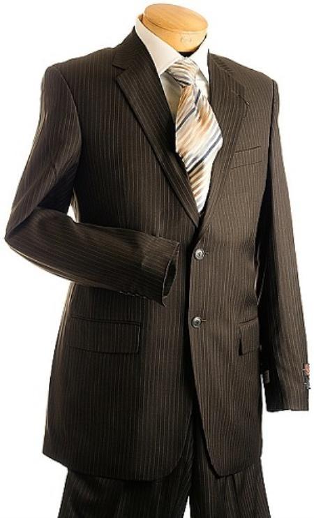 3 Button Brown Pin Stripe Suit Mens