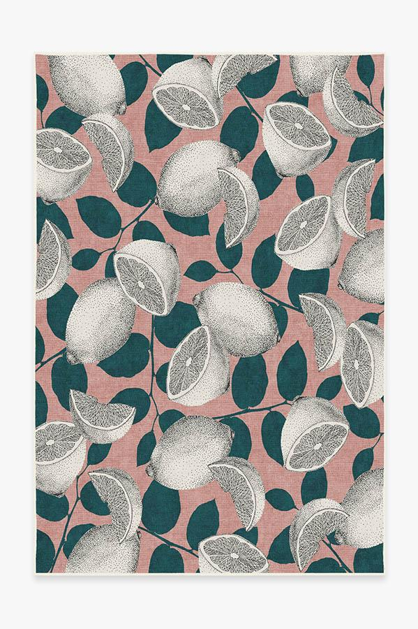Washable Rug Cover | Lemonade Pink Rug | Stain-Resistant | Ruggable | 6'x9'