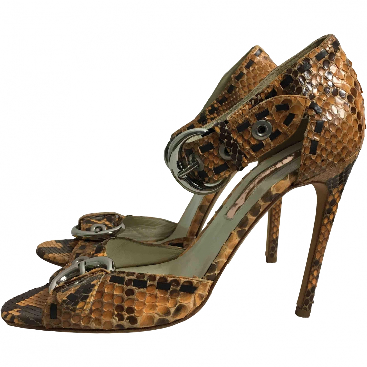 Rupert Sanderson \N Brown Python Sandals for Women 37 EU