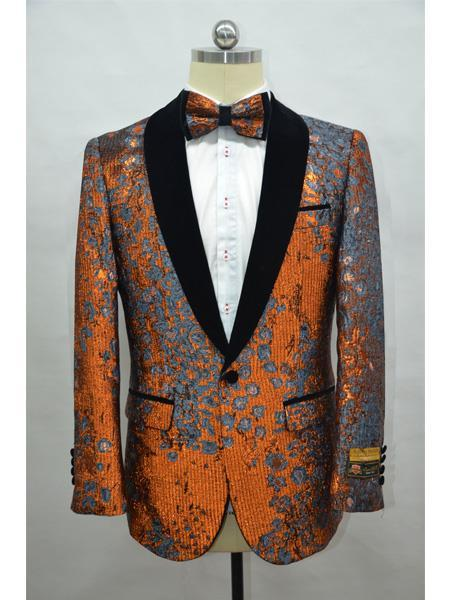 Cheap Mens Printed Flower Jacket Prom modern Tux Rust ~ Black