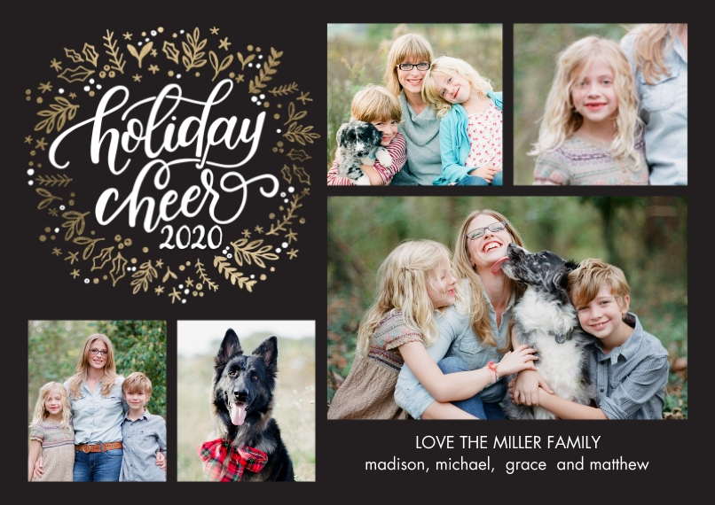 Christmas Photo Cards 5x7 Cards, Premium Cardstock 120lb with Elegant Corners, Card & Stationery -2020 Holiday Cheer Wreath by Tumbalina