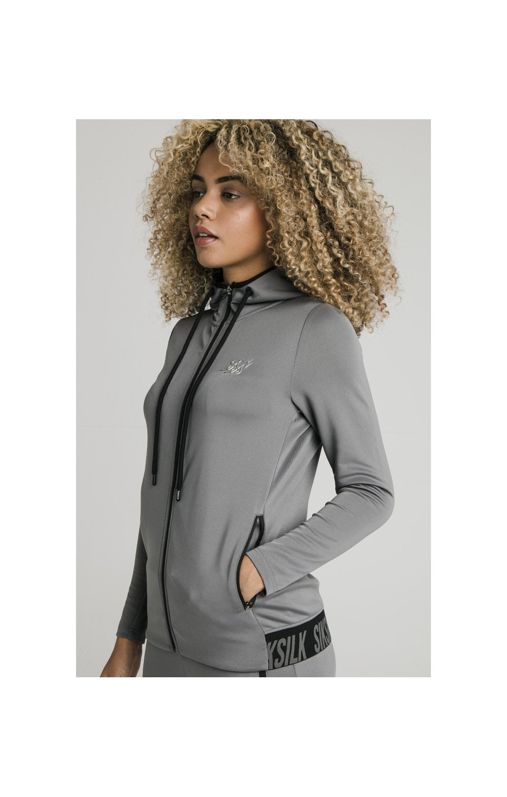 SikSilk Gym Track Jacket - Grey WOMEN SIZES: 10-S