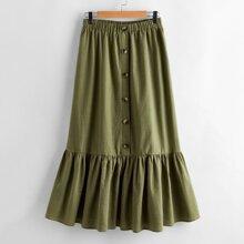 Button Front Flounce Hem Skirt