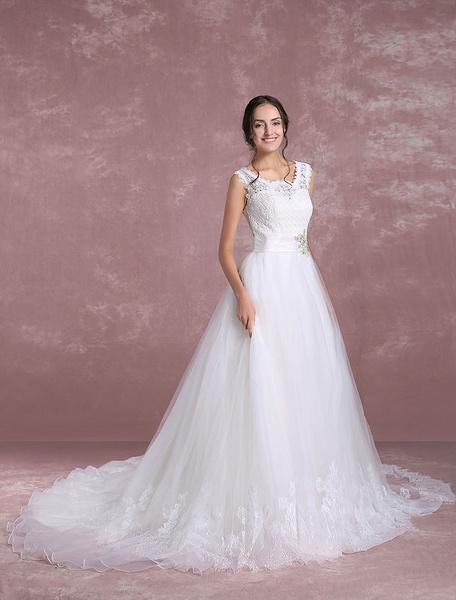 Milanoo Lace Wedding Dress Organza Illusion Sleeveless Bridal Dress A Line Rhinestones Beading Sash Bridal Gown With Chapel Train