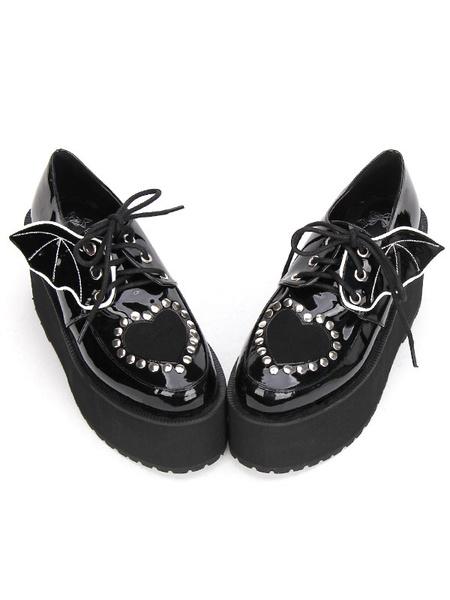 Milanoo Gothic Lolita Shoes Black Lace Up Platform Studded Gothic Lolita Footwear