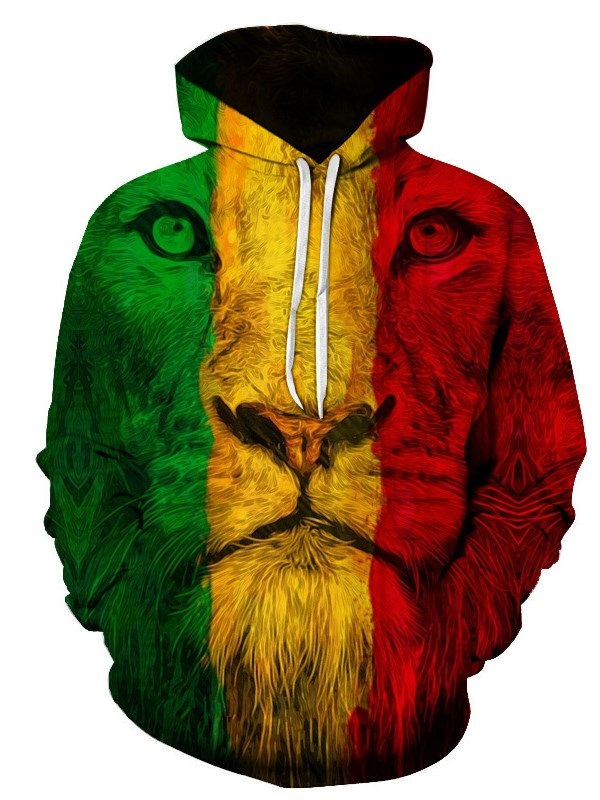 Creative and Colorful Lion Face 3D Printed Pullover Loose Men's Hoodies