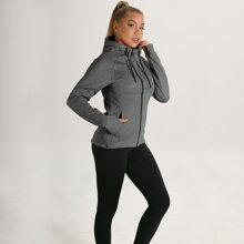 Zip Up Drawstring Hooded Thumb Hole Sports Jacket
