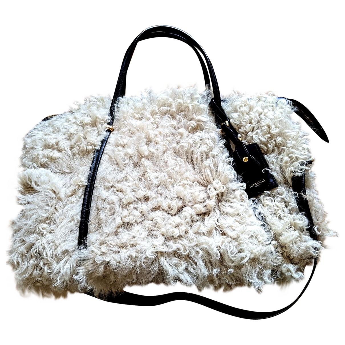 Nina Ricci - Sac a main   pour femme en agneau de mongolie - ecru