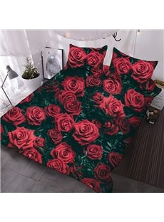 A Large Cluster of Red Roses 3D Printed 3-Piece Polyester Comforter Sets