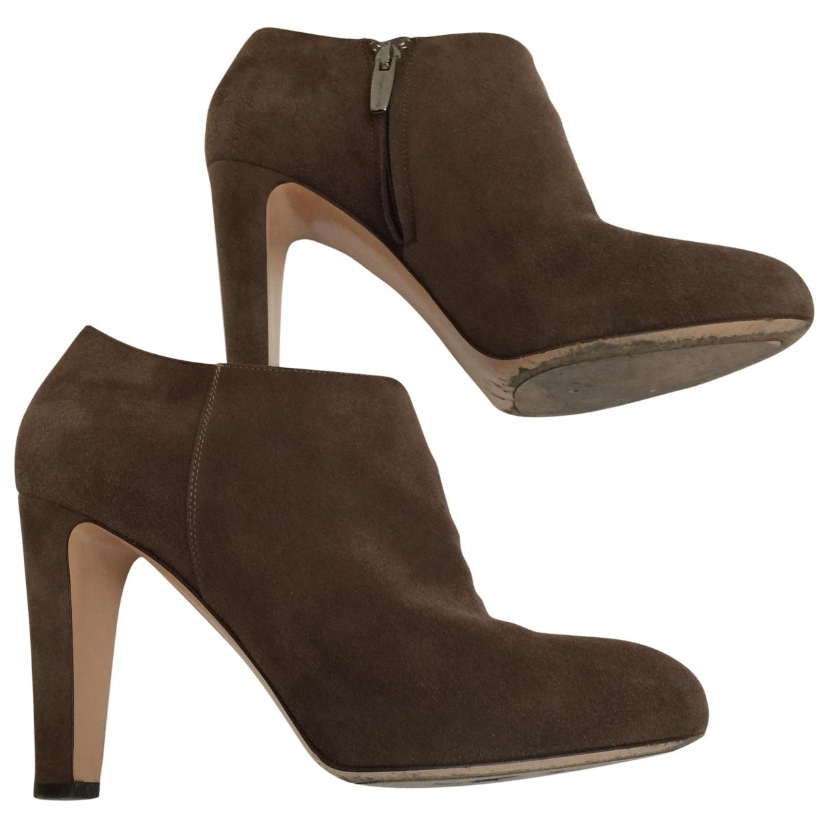 Gianvito Rossi - Boots   pour femme en suede - marron