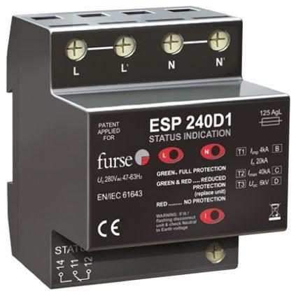 WJ Furse D1 Series 280 V Maximum Voltage Rating 6.25 kA, 80 kA Maximum Surge Current Mains Surge Protector, DIN Rail