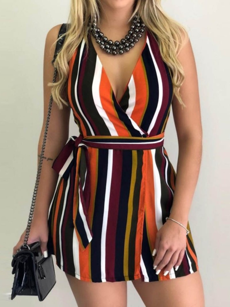Ericdress Lace-Up Sleeveless V-Neck Stripe A-Line Dress