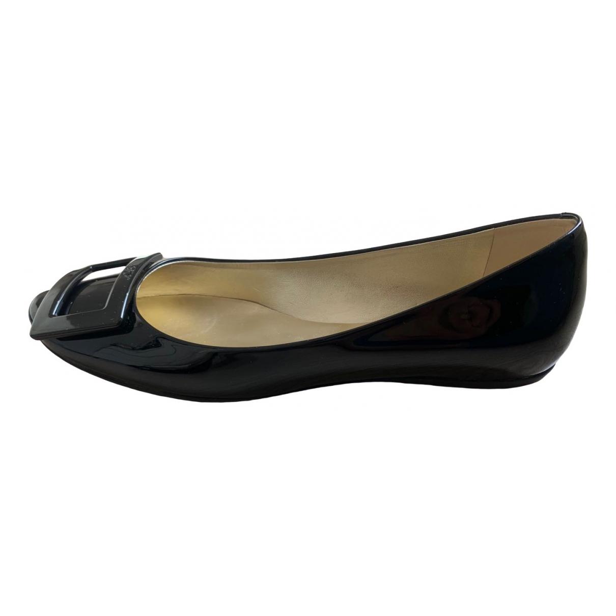 Roger Vivier Gommetine Black Patent leather Ballet flats for Women 38 EU