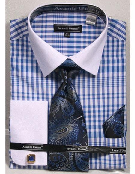 Mens white Collared French Cuffed Blue Shirt Tie/Hanky/Cufflink Set