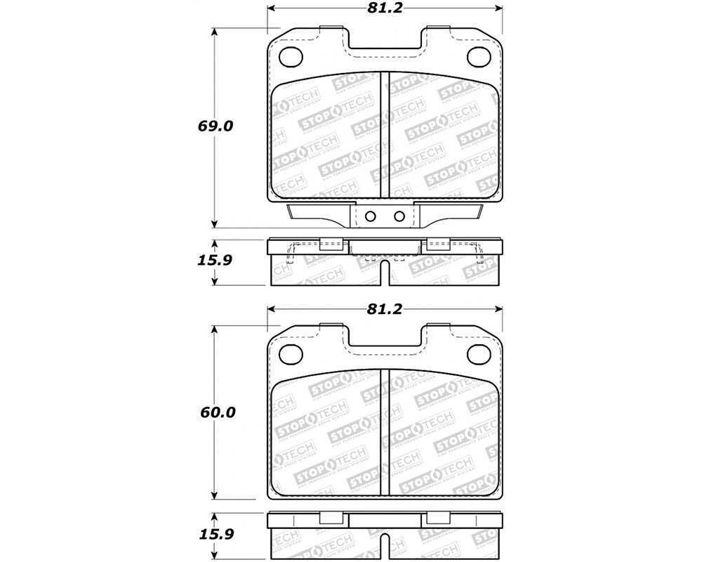 StopTech 308.0631 Street Brake Pads with Shims/Hardware Rear