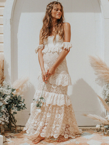 Milanoo Boho Wedding Dress 2020 Off The Shoulder palabra de longitud vestidos de novia de multiples capas de encaje
