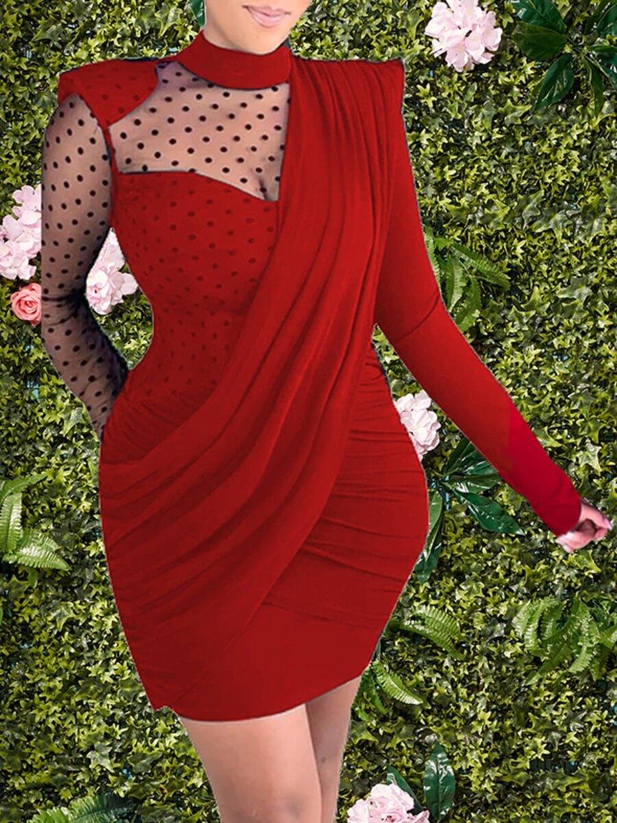 LW Lovely Stylish Turtleneck Dot Print Patchwork Red Mini Dress