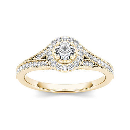 5/8 CT. T.W. Diamond 14K Yellow Gold Engagement Ring, 7 1/2 , No Color Family