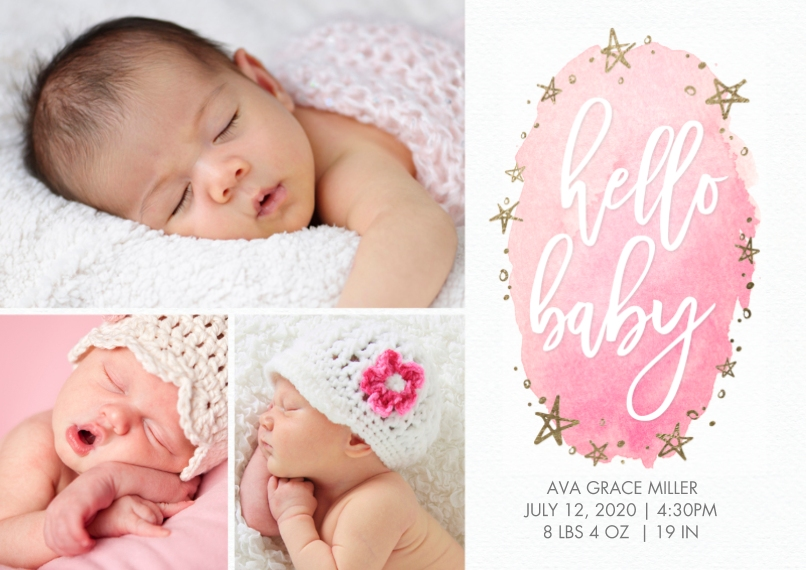 Baby Announcements 5x7 Cards, Premium Cardstock 120lb with Elegant Corners, Card & Stationery -Baby Watercolor Stars Sparkle by Tumbalina