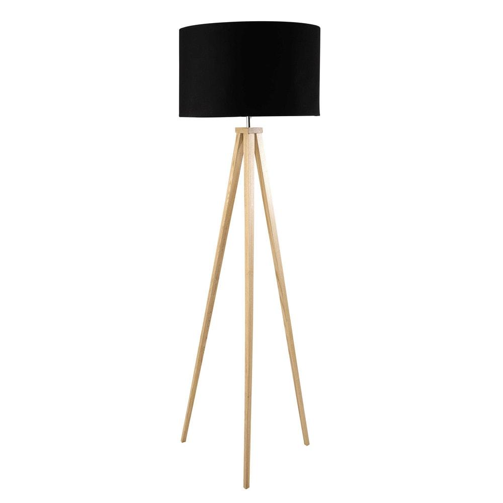 Dreibeinige Stehlampe aus Eschenholz und schwarzer Baumwolle, H156