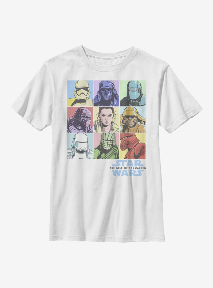 Star Wars Episode IX The Rise Of Skywalker Pastel Rey Boxes Youth T-Shirt