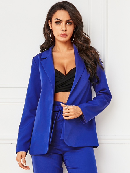 YOINS Blue Lapel Collar Long Sleeves Blazer