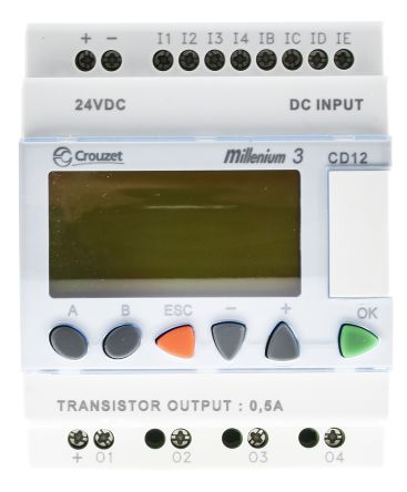 Crouzet Millenium 3 Logic Module, 24 V dc Transistor, 8 x Input, 4 x Output With Display