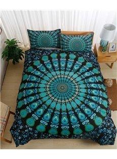 Green Peacock Pattern Mandala Style 3-Piece Bedding Sets/Duvet Cover