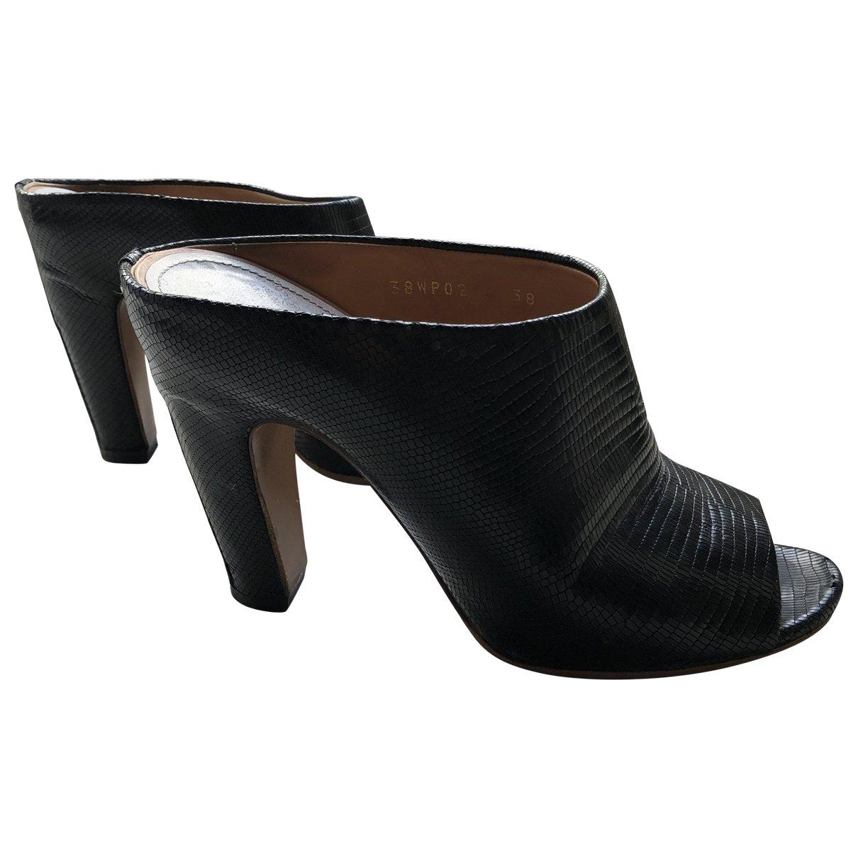 Maison Martin Margiela \N Black Python Sandals for Women 38 EU