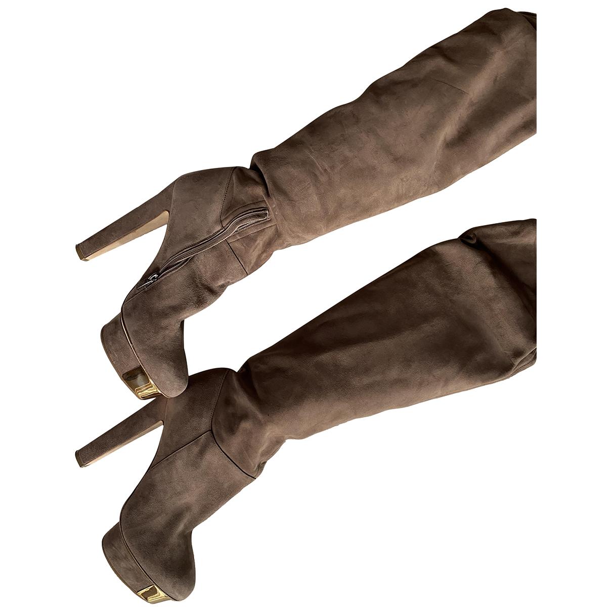 Le Silla \N Stiefel in  Beige Veloursleder