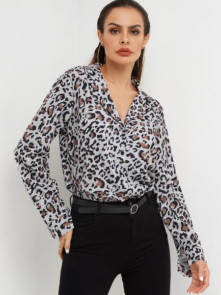 Yoins Khaki Leopard Print Open Front Button Design Shirts