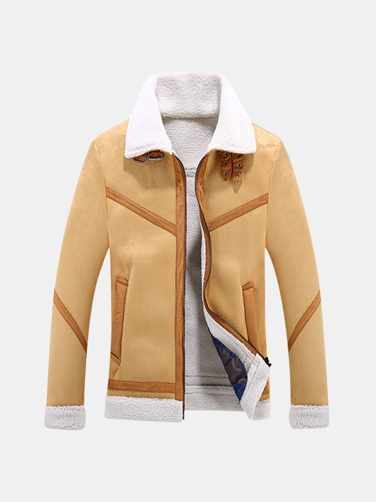 Casual Business Jacket Lapel Collar Thicken Fleece Soft Leather Jacket for Men