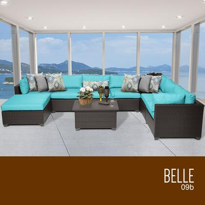 BELLE-09b-ARUBA Belle 9 Piece Outdoor Wicker Patio Furniture Set 09b with 2 Covers: Wheat and