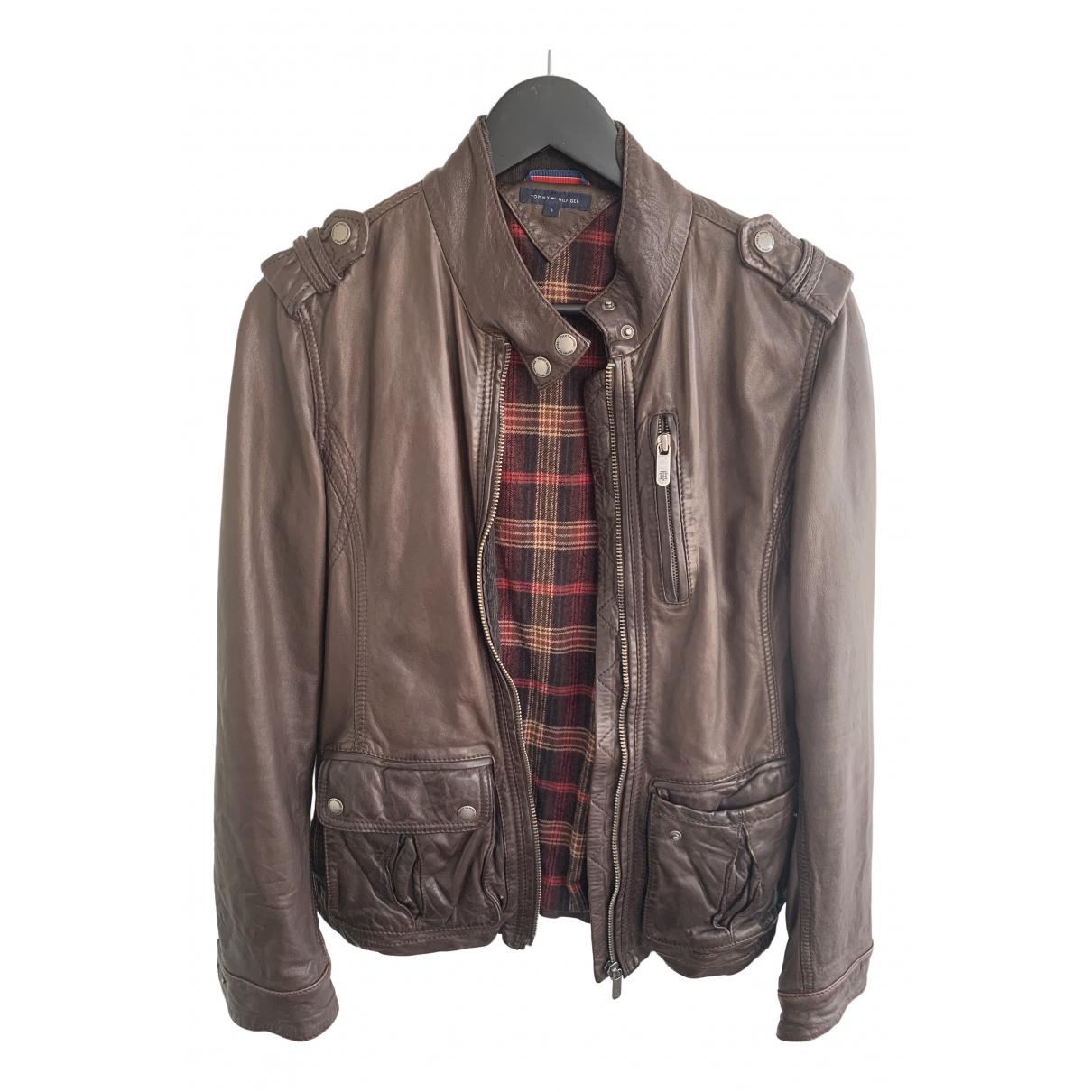 Tommy Hilfiger - Manteau   pour femme en cuir - marron