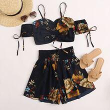 Top con diseño de cordon con estampado floral con shorts