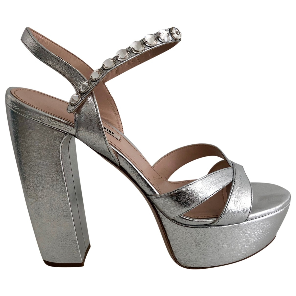 Miu Miu \N Silver Leather Sandals for Women 40 EU