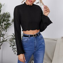 Bell Sleeve Lettuce Trim Rib-knit Crop Top