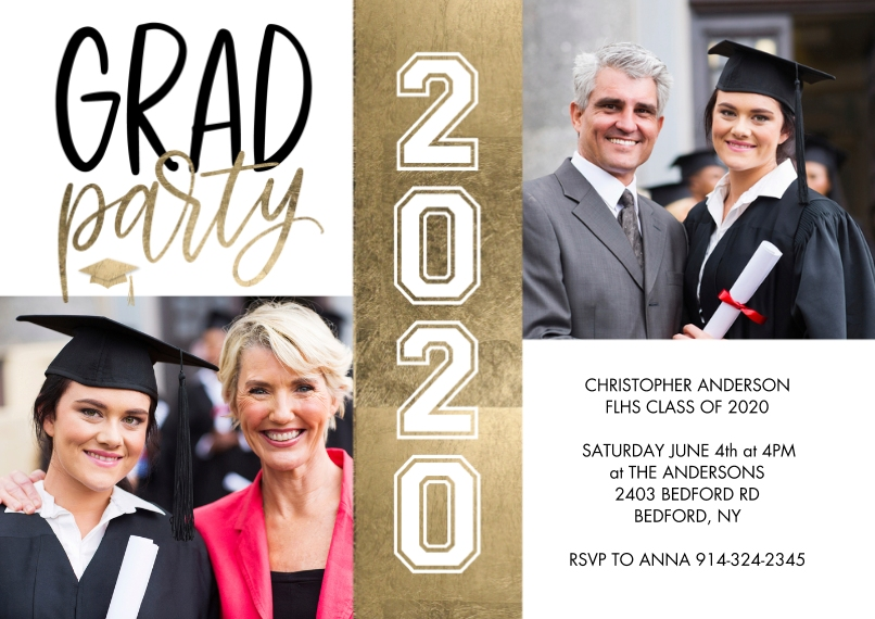 2020 Graduation Invitations 5x7 Cards, Premium Cardstock 120lb with Rounded Corners, Card & Stationery -Grad Party 2020 Gold Strip by Tumbalina
