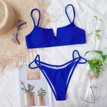Bikini Badeanzug mit V Ausschnitt und Kreis Bindung